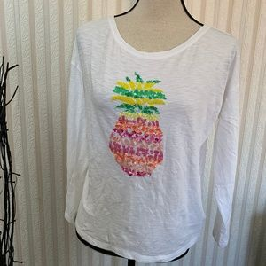 Tops - aloha  pineapple white cotton shirt beeded size mp